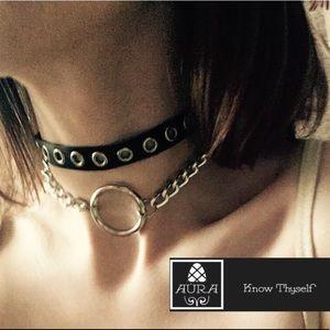 Rivet Gag Choker Set Goth BDSM Vegan Leather